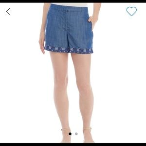 Kaari Blue Embroidered Structured Shorts